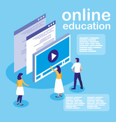 Online education with media player display and vector
