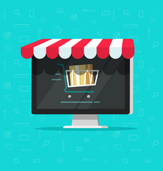 online shop on computer e vector image