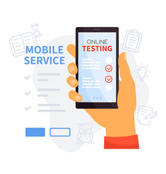 online testing mobile service - colorful vector image