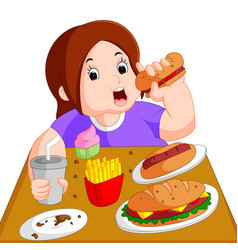 Overweight woman eating fast food vector