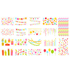Party elements big set pennants flags garlands vector