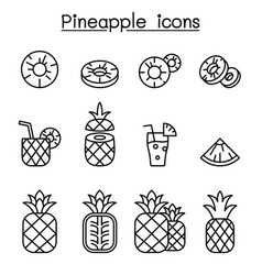pineapple icon set in thin line style vector image