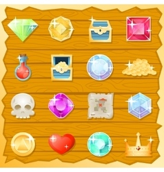 Pirate game jewel gold skull trasure chest potion vector