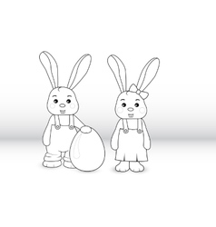 Rabbits boy and girl vector