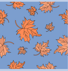 Red maple leaves autumn seamless pattern vector