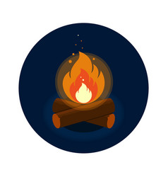 round icon of bright bonfire with firewood on dark vector image