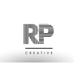 Rp r p black and white lines letter logo design vector