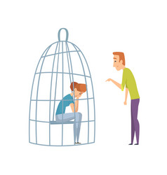 Sad woman in cage domestic violence man laughing vector