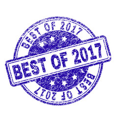 Scratched textured best of 2017 stamp seal vector