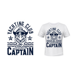 sea captain yachting sport t-shirt print mockup vector image
