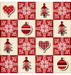 Seamless Christmas background in a patchwork style vector image