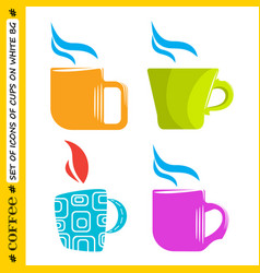 set of colored cups on a white background vector image