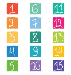 Set of fifteen colorful number tags in squares wit vector