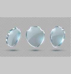 set realistic glass shields vector image