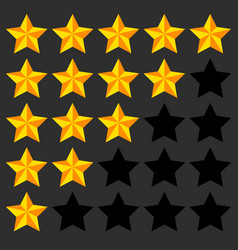 Star rating element 5 point rating beveled 3d vector