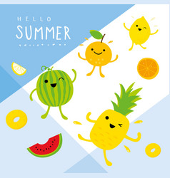summer fresh fruit pineapple cute cartoon vector image