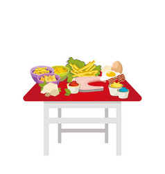 table with food vector image