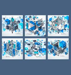 Template 3d blue design layout for brochures set vector