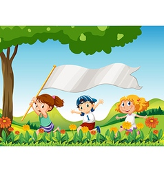Three kids running with a banner vector image
