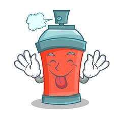 Tongue our aerosol spray can character cartoon vector