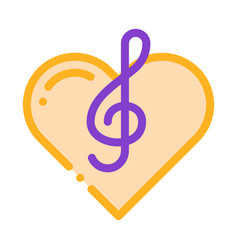 treble clef and heart song element icon vector image