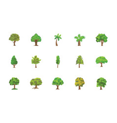 Trees flat icons pack vector
