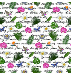 Tropical lettering seamless pattern vector