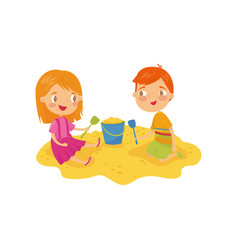 Two little kids boy and girl playing in sandbox vector