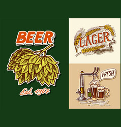vintage beer badge green hops rye and wheat keg vector image