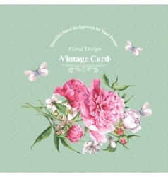 vintage watercolor greeting card with blooming vector image