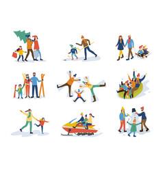 Winter family activities children and parents vector