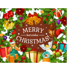 winter holiday greeting card for merry christmas vector image