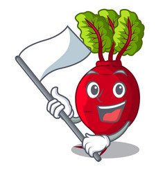 With flag whole beetroots with green leaves vector