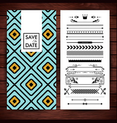Yellow and blue square shaped save the date vector