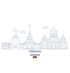Yerevan city skyline vector