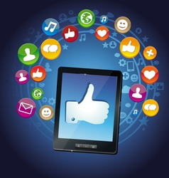 concept - tablet pc and socail media icons vector image vector image