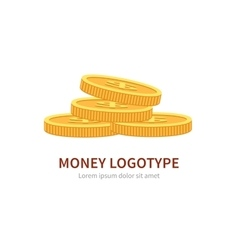 Flat logo stack of coins isolated on white vector image