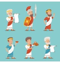 Greek Roman Retro Vintage Character Icon Set vector image vector image