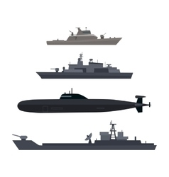 Naval Ships Set Military Ship or Boat Used by Navy vector image