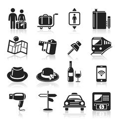Travel black icons set vector image