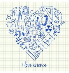 i love science doodles in heart vector image