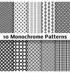 Monochrome different seamless patterns tiling vector image