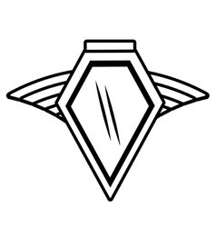 shield insignia military winged outline empty vector image vector image