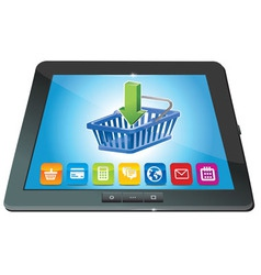 tablet pc with shopping cart icon - ecommerce conc vector image
