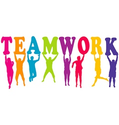 Teamwork concept with colored women and men vector image vector image