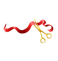 long silk red ribbon and gold shiny scissors vector image vector image
