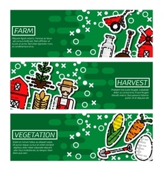 Set of Horizontal Banners about farm vector image