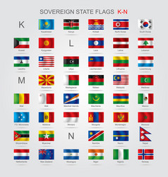 set of sovereign state flags k-n vector image