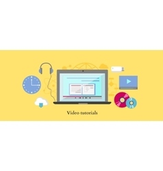 Video tutorial icon flat design style vector image vector image