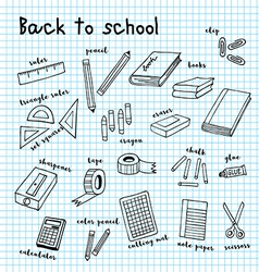 back to school doodle drawing vector image vector image